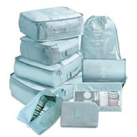 9 piezas conjunto viajes organizador bolsas de almacenamiento maleta embalaje conjunto de cajas de almacenamiento portátil equipaje organizador ropa zapato ordenado