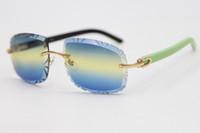حار بدون إطار منحوت عدسة بصرية 8200762A الأخضر مزيج الأسود بلانك النظارات الشمسية أزياء للجنسين C الديكور إطار نظارات الذهب الحجم: 62-20-135mm