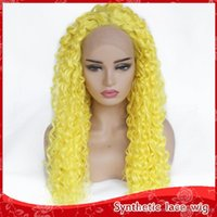 Hot Fashion Yellow Color Long Kinky Curly Glueless Synthetic...