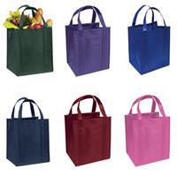 أكياس التسوق 500 قطعة / الوحدة قابلة لإعادة الاستخدام أسود غير المنسوجة حقيبة النسيج مع مقابض طويلة صديقة للبيئة حمل بقالة
