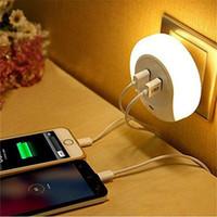 Akıllı Tasarım LED AC 110 220 V Gece Işık Işık Sensörü ve Banyolar için çift USB Duvar Plaka Şarj Yatak Odası AB ABD fiş