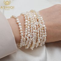 ASHIQI Multilayer Natural Freshwater Pearl Bracelet for women Gorgeous 10 Rows Fine Fashion 4-5mm Pearl Jewelry CX200706