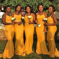 2019 желтые русалка невесты платья южноафриканских плюс размеры спагетти аппликация без спинки горничный честь платья подделка