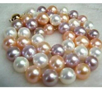 10-11mm Natural South Seas White Pink Purple Pearl Necklace 18inch 925 Silver Clasp