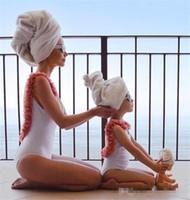 Ins Meninas Flores Backless Swimwear Mamãe e Mim Uma peça Natação Moda Crianças Estéreo Pétala Suspender Beach Feriado Swimsuits K0322