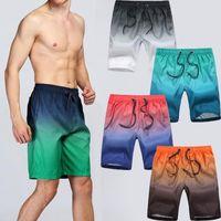 새로운 남성 비치 반바지 수영복 여름 수영 트렁크 수상 스포츠 속옷 그라데이션 캐주얼 대형 크기 탄성 Sportswears