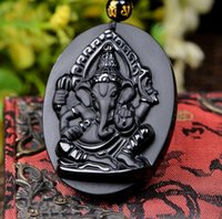 Obsidian four- armed treasure elephant pendant four- armed Wan...