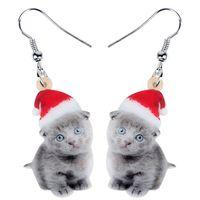 Acryl Weihnachtsbonbon graue Katze Kätzchen Ohrringe Tropfen baumeln Anime Tiere Frauen-Mädchen Teen Kid Festival Geburtstag Charms Geschenk