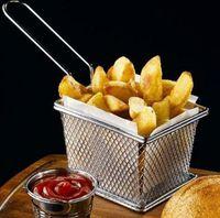 Mini friteuse en acier inoxydable servant des aliments panier de présentation cuisine frites frites paniers paniers