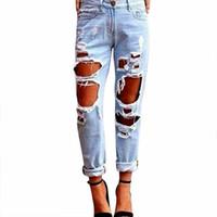 Hirigin Kadın Seksi Kadın Jeans Yaz Bel Yüksek Pantolon Mavi Serin İnce Pantolon Torn tahrip