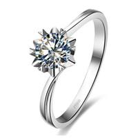 0.5Ct Twist Snowflake Sterling Silver NSCD Kwiat Solitaire Diament Pierścionek zaręczynowy Biżuteria 18K Biały Pozłacane święto Boże Narodzenie Małżeństwo