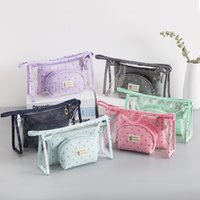 Cosmetic Bag Transparent PVC Three Piece Suit Zipper Korean ...
