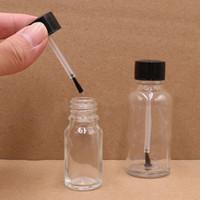 Tırnak Sanat Oje Sıvı Allık ve tutkal 5ml için 50 ml için (Siyah Cap Fırça) Net Cam Şişe boşaltın