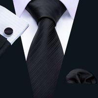 Snelle verzending zijden stropdassen voor mannen zwart solide jacquard geweven met zakdoek en manchetten groothandel mode bruiloft bevrijdende verzending N-5089