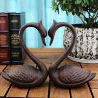 2 Piezas de hierro fundido de cisne sujetalibros de metal libro termina habitación Escritorio antiguo mesa de estudio Home Office Decor Brown rústico antiguo de la vendimia Artesanía Animal