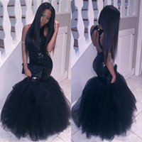 Sexy Black Girls Prom Dresses senza maniche Hollow Backless Tulle e paillettes sirena abiti da sera piano economico vestito da partito africano