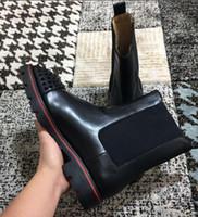 حار بيع الاطارات المطاطية وحيد سوبر الجودة الكاحل أحذية الأحمر أسفل Kicko أحذية الجلد المدبوغ حقيقية، رجال منتصف أحذية الرجال أنيق