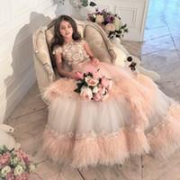 Luxo penas rendas crianças meninas concurso vestidos appliqued jóia pescoço frisado bola vestido de esfera menina vestido varrer trem garoto vestidos de baile