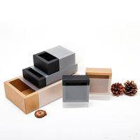 Düğün Hediye Paketleme XD23163 için Buzlu PVC Kapak Kraft Kağıt Çekmece Kutuları DIY El Yapımı Sabun Craft Jewel Box