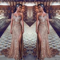 2019 Gold Mermaid Prom Dresses One Shoulder Beaded Luxury Se...