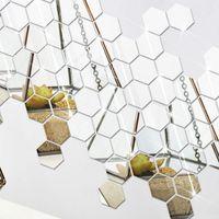 Espejo de pared 12pcs 3D Hexágono extraíble etiqueta engomada de la decoración del hogar del arte DIY de la venta caliente