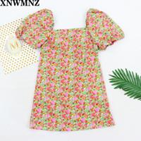 XNWMNZ 2020 vendimia de las mujeres vestidos de la impresión floral de mini manga de soplo del vestido retro cuadrado hembra del collar delgado ocasional vestidos streetwear