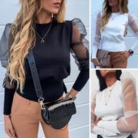 Art und Weise Frauen Puff Langarm T-Shirt Tops Shirts Sehen Sie durch bloße Ineinander greifen Bluse