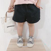 Pantalones cortos para niños 2020 Muchachos de verano Chicas Pantalones casuales de algodón casual con bolsillos Bebé Color sólido delgado Pantalones cortos delgados 80-140cm CZ331