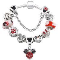 16-21CM Europeia doce rato grânulos de charme 925 cadeia cobra prata charme pulseira para crianças Jóias Acessórios DIY com caixa de presente