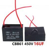 CBB61 450VAC 16UF ventilador condensador de arranque longitud de cable de 10 cm con la línea de