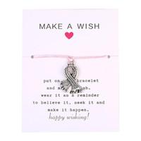 Nouvelle arrivée de sensibilisation au cancer du sein pour les femmes Bracelet à breloques main rose corde tressée chaîne bijoux Vintage Pendentif Bracelet en argent