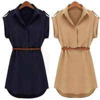 Women Casual Summer Shirt Dress Summer Dress 2019 Loose Short Sleeve With Belt Turn Down Collar Autumn Vestidos #20