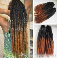 12 paquetes de cabeza completa Dos tonos Marley trenzas Pelo 20 pulgadas Negro Naranja Ombre Extensiones de cabello sintético Kinky Twist Braiding Envío gratis