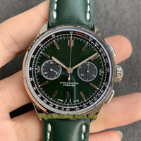 GF 프리미어 B01 크로노 그래프 42 영국 레이싱 그린 다이얼 AB0118A11L1X1 ETA A7750 크로노 그래프 자동 망 시계 스틸 케이스 스포츠 시계