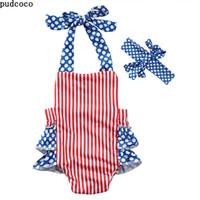 Американские фондовые комбинезон одежда лето без рукавов Ploka Dot бантом полосатый комбинезоны Детские комбинезоны+повязка на голову костюмы детские костюмы