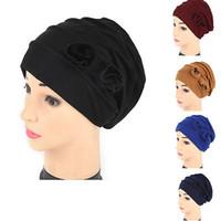 Il cappello del fiore del nuovo delle donne confinamento Beanie Baggy Turban Cap dell'involucro della testa del coperchio Foulard