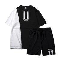 Remiendo del chándal de los hombres camiseta determinada del verano dos pedazos Sporting traje de pista de conjuntos masculinos Impreso T-Tops desgaste fijan para hombre traje de pista