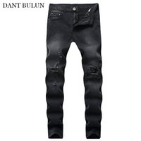 Jeans pour homme Casual Jeans Distressed trou Pantalons Slim Torn Ripped denim destroyed Pantalons Hommes Skinny Crayon Pantalons Streetwear