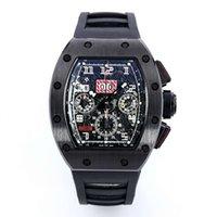 새로운 KV 생산 RM011-03 ETA7750 완전한 기능을 운동 50mmX40mm 탄소 섬유 케이스 명품 남성 시계 디자이너 시계