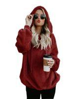 Cálido Invierno Mujeres Sherpa Fleece Pullover ocasional del suéter flojo sudaderas con capucha de gran tamaño otoño más el tamaño de la capa encapuchada Tops S-5XL C92709