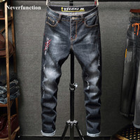 2019 Männer Streetwear Skinny Ripped Jeans Hose Fashion Marke Mens distressed Retro Wash Business Casual Denim Jeans Hosen