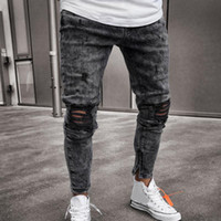 Mens Skinny Stretch denim Calças Distressed rasgado Freyed Slim Fit Jeans Calças Harajuku Sweatpant Hip Hop Calças LS 1217