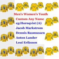 İsveç 2019 IIHF Dünya Şampiyonası Hokeyi Formalar Patric Hornqvist Jersey Mario Kempe Anton Lander Marcus Pettersson Kruger Özel Dikişli