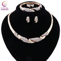 Gold Plated Women Statement Necklace Earrings Bracelet Ring For Party Wedding Boho Crystal Necklace Jewelry Sets