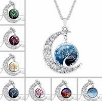 Halsketten Großhandelsweinlese Glas Galaxy Schöne Mond-Edelstein-Silber-Ketten-Halskette Leben-Baum-Mond-Anhänger-Halskette