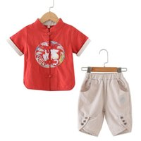 Summer Retro Embroidery Tang Suit Baby Boys Chinese Style T-...