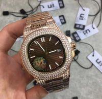 8 DIAL COLOR BEST U1 NUEVO MOVIMIENTO AUTOMÁTICO 40MM Roes Oro Diamond Case Classic 571 / 1A Relojes de pulsera trasera transparente Caja original