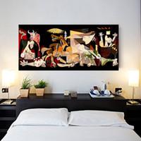 Stampa Spagna Francia Picasso Guernica Vintage Classic Germania Figura tela pittura poster da parete per la decorazione domestica T200414