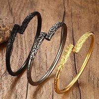 Floret Talla Brazalete de acero inoxidable para mujeres de los hombres de la vendimia Brackelts masculino ornamento de la joyería de plata Oro Negro