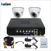 نظام الأمن 1080P CCTV كاميرا مراقبة DVR مسجل 4 قناة 2 × 2MP 1080P مانعة لتسرب الماء قبة الكاميرا في الهواء الطلق / داخلي الوصول البعيد
